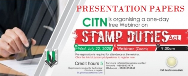 PAPERS PRESENTED: WEBINAR ON STAMP DUTIES ACT